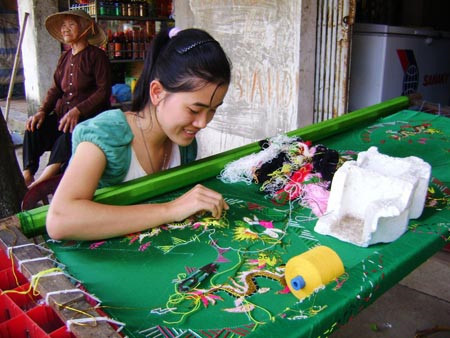 Quat Dong embroidery craft village in Hanoi